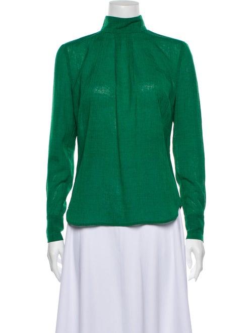 Cefinn Mock Neck Long Sleeve Blouse Green