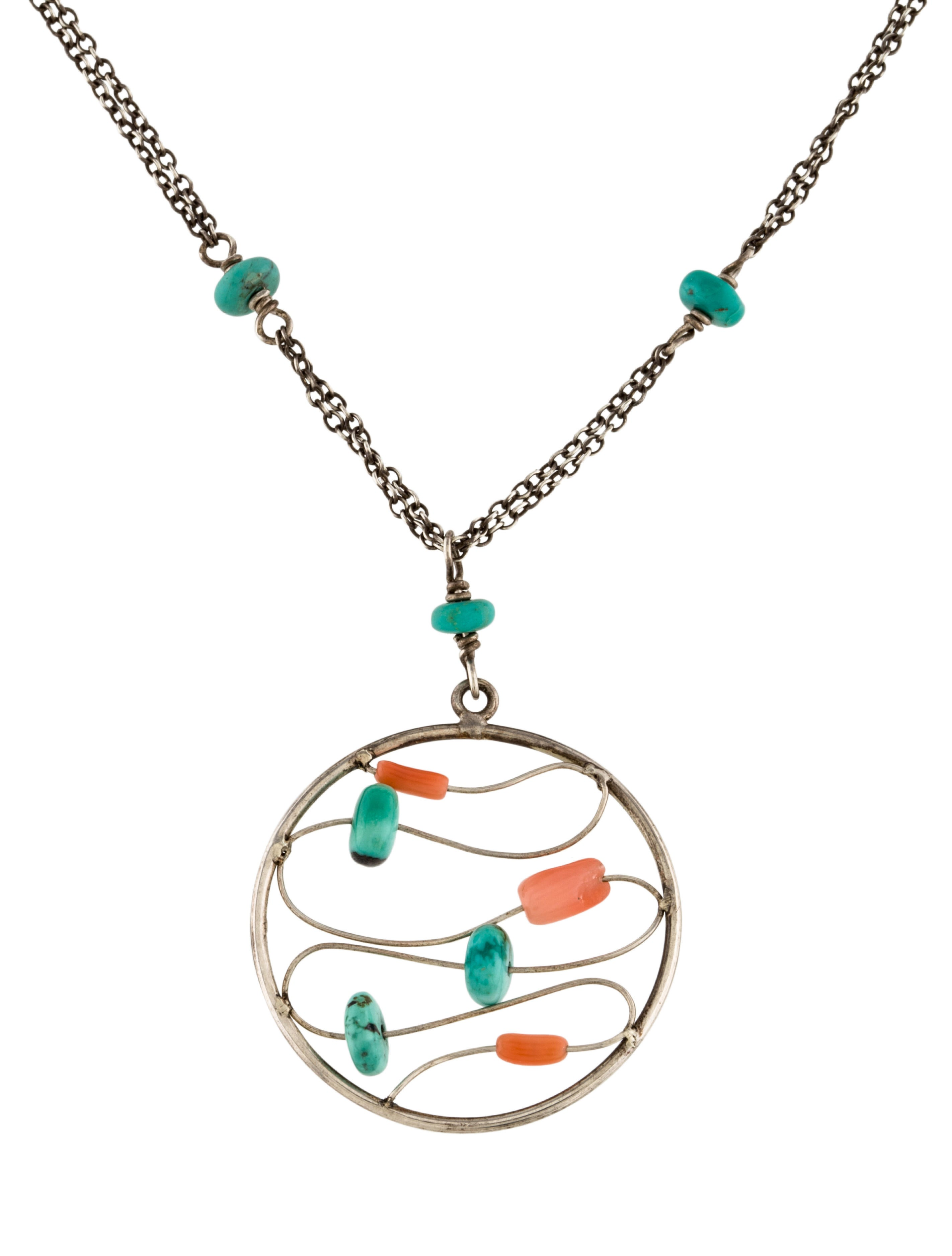 chan luu turquoise coral pendant necklace necklaces