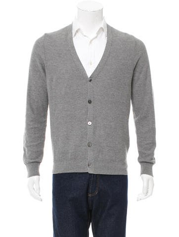 Closed V-Neck Rib Knit-Trimmed Cardigan w/ Tags None