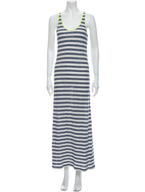 Closed Striped Long Dress Blue
