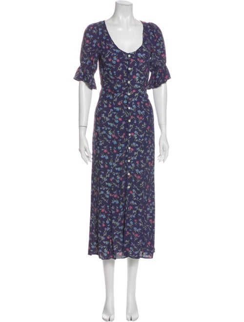 Christy Dawn Floral Print Long Dress Blue