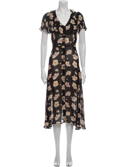 Christy Dawn Floral Print Midi Length Dress Black