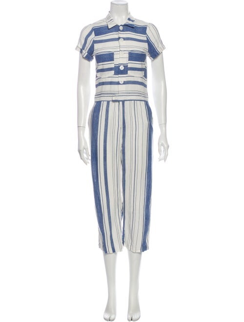 Christy Dawn Linen Striped Jumpsuit Blue