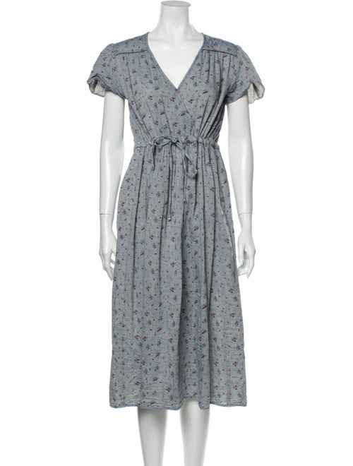 Christy Dawn Floral Print Midi Length Dress Blue
