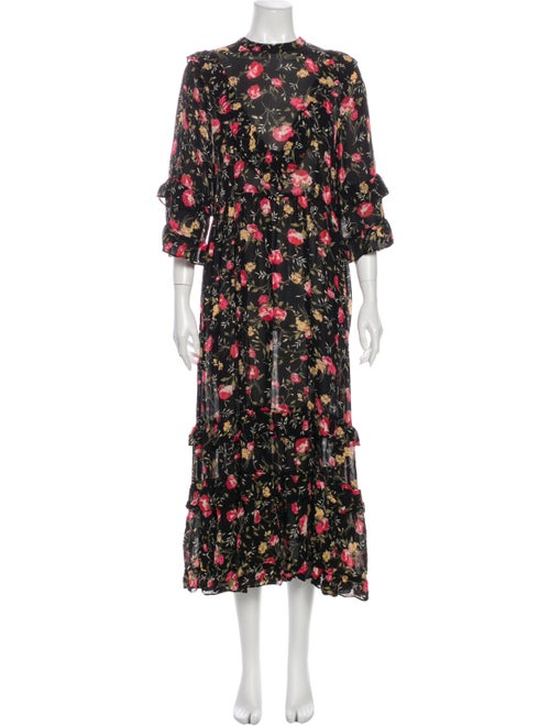 Christy Dawn Floral Print Long Dress Black