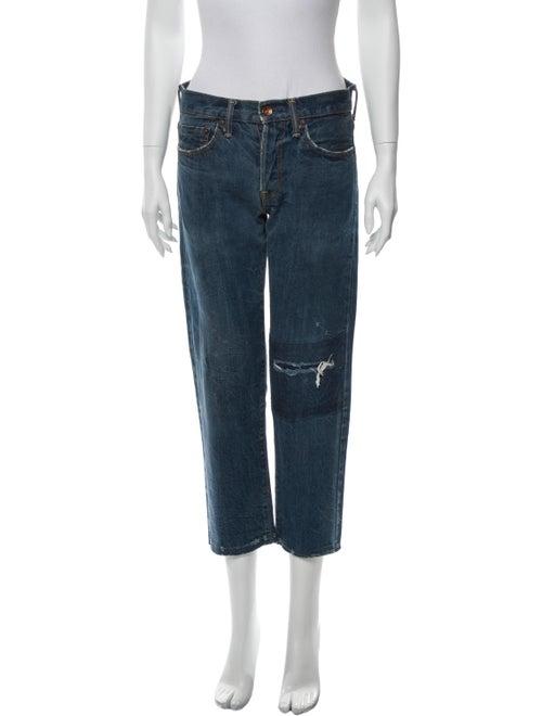 Chimi Mid-Rise Straight Leg Jeans Blue