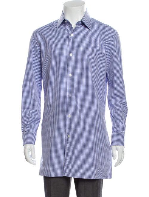 Charvet Plaid Print Long Sleeve Shirt Blue