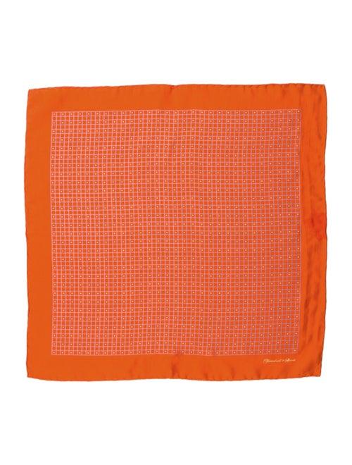 Charvet Printed Silk Pocket Square orange