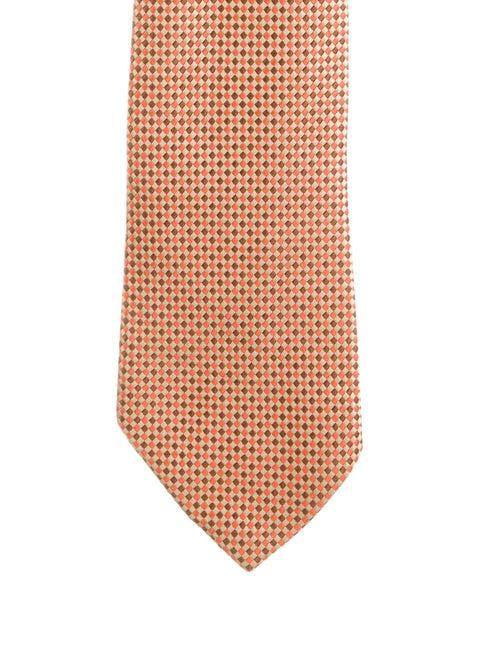 Charvet Silk Checked Tie orange