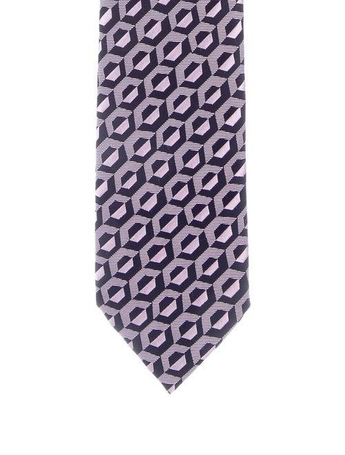 Charvet Patterned Silk Tie navy