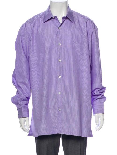Charvet Striped Long Sleeve Dress Shirt Purple