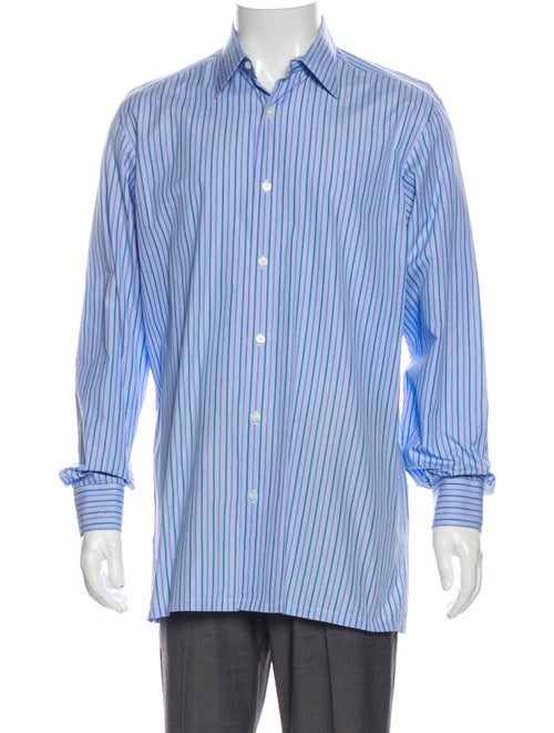 Charvet Striped Long Sleeve Dress Shirt Blue