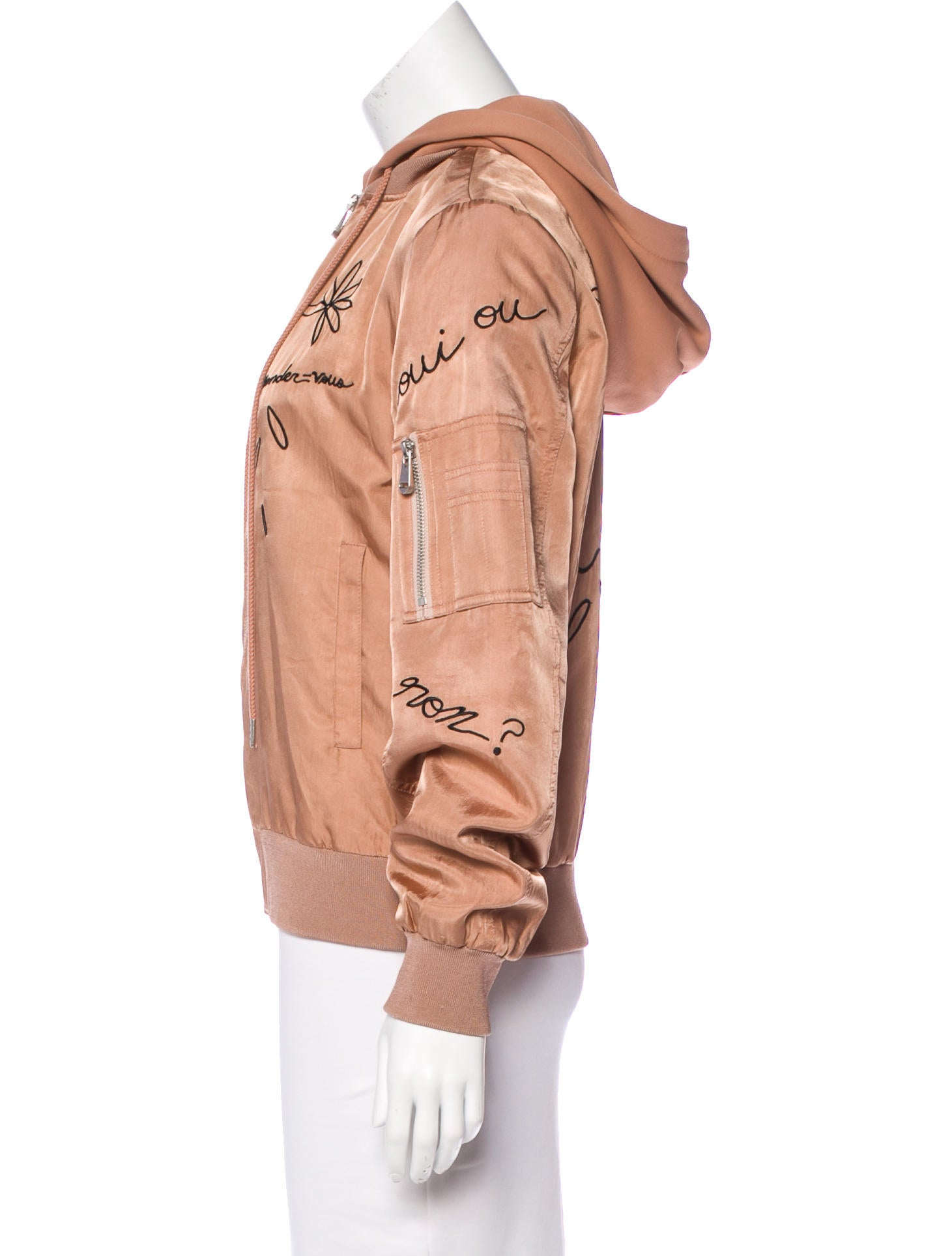 Cinq à sept embroidered hooded jacket clothing