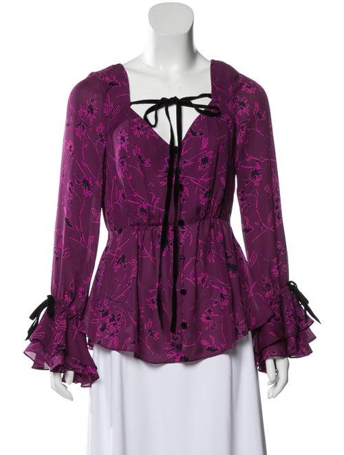 Cinq à Sept Silk Floral Print Blouse Purple