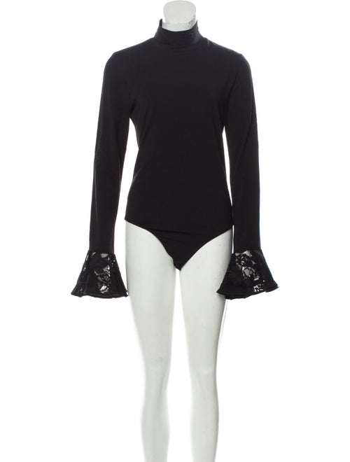 Cinq à Sept Turtleneck Long Sleeve Bodysuit Black