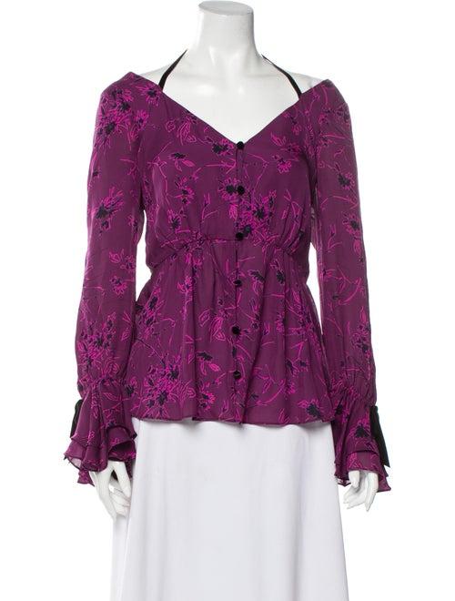 Cinq à Sept Silk Floral Print Button-Up Top Purple