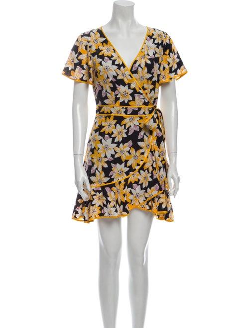 Cinq à Sept Silk Mini Dress Yellow