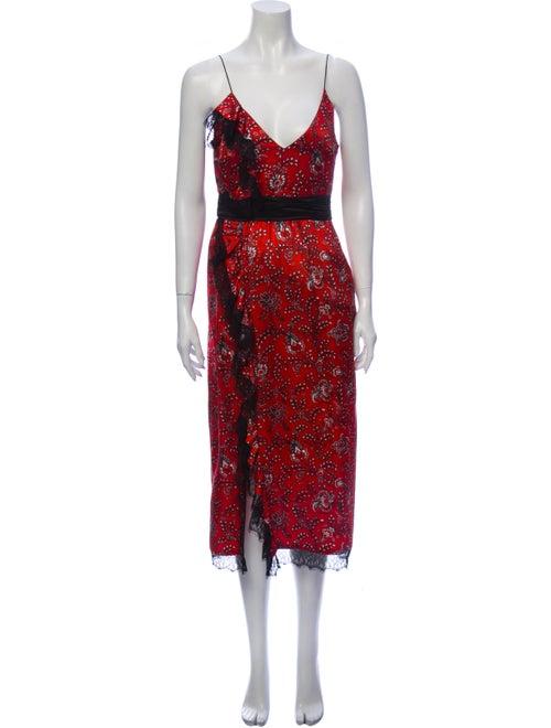 Cinq à Sept Silk Long Dress Red