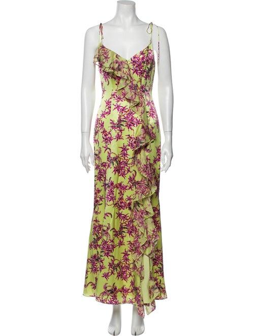 Cinq à Sept Silk Long Dress Yellow