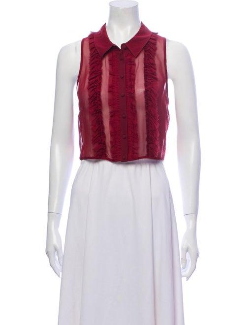 Cinq à Sept Silk Sleeveless Crop Top Red