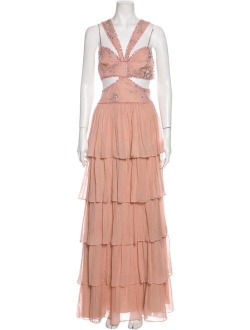 Cinq à Sept Silk Long Dress Pink