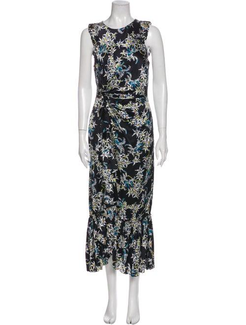 Cinq à Sept Silk Long Dress Blue