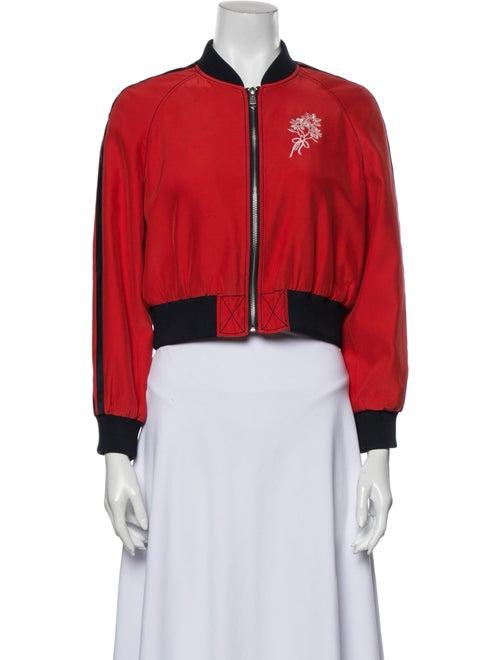 Cinq à Sept Silk Bomber Jacket Red