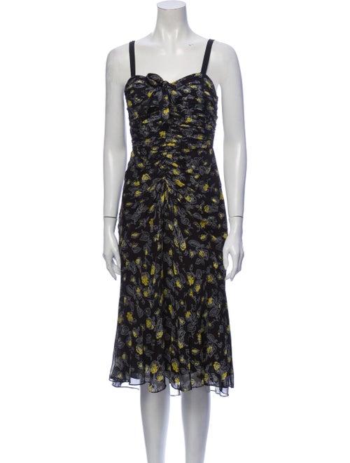 Cinq à Sept Silk Midi Length Dress Black