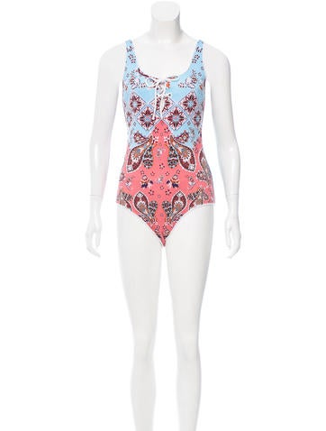 Printed One-Piece Swimsuit w/ Tags