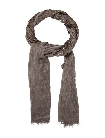 Claudio Cutuli Grey Raw Edge Scarf None