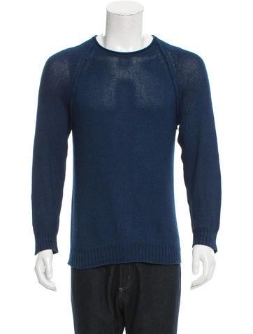 Club Monaco Crew Neck Rib Knit-Trimmed Sweater None