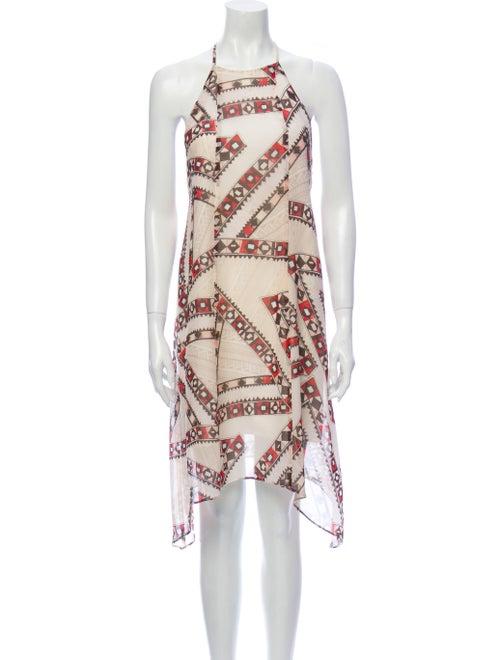 Club Monaco Silk Midi Length Dress Metallic