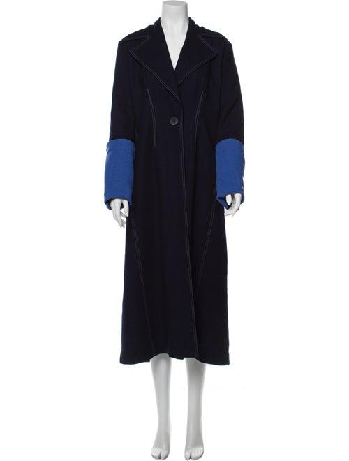 Colovos Colorblock Pattern Coat Blue