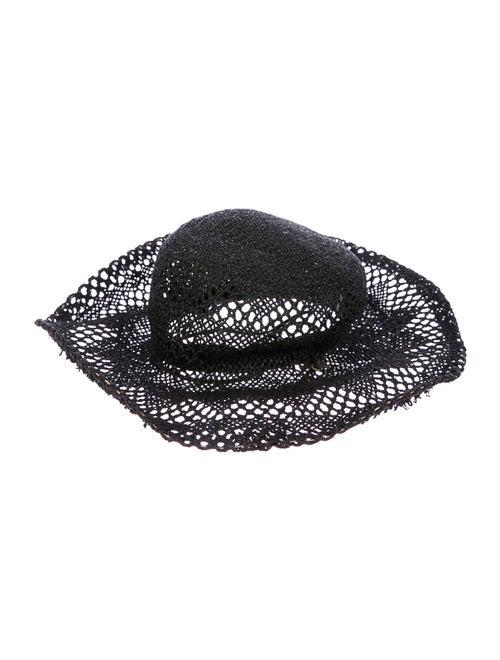 Clyde Straw Wide-Brim Hat Black