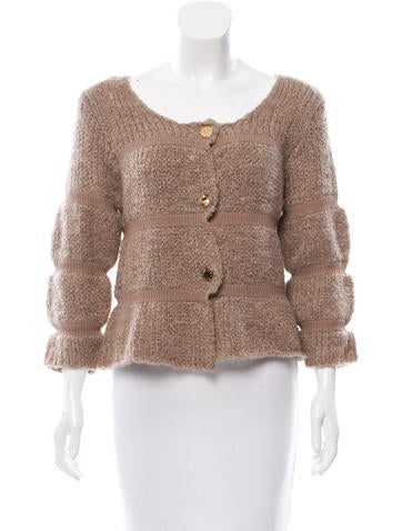 Camilla and Marc Scoop Neck Rib Knit-Trimmed Cardigan w/ Tags None