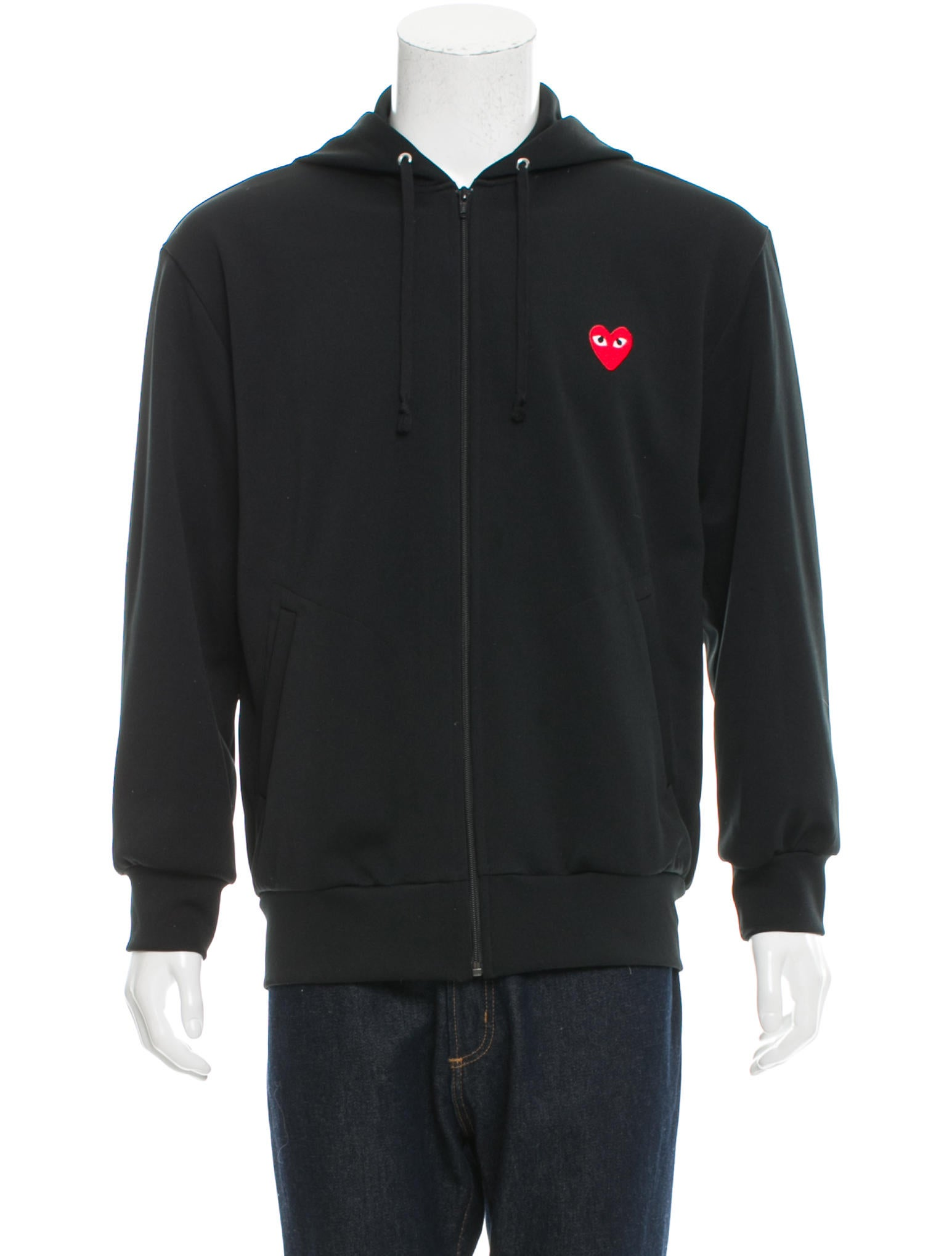 comme des gar ons play logo patch zip up hoodie clothing. Black Bedroom Furniture Sets. Home Design Ideas