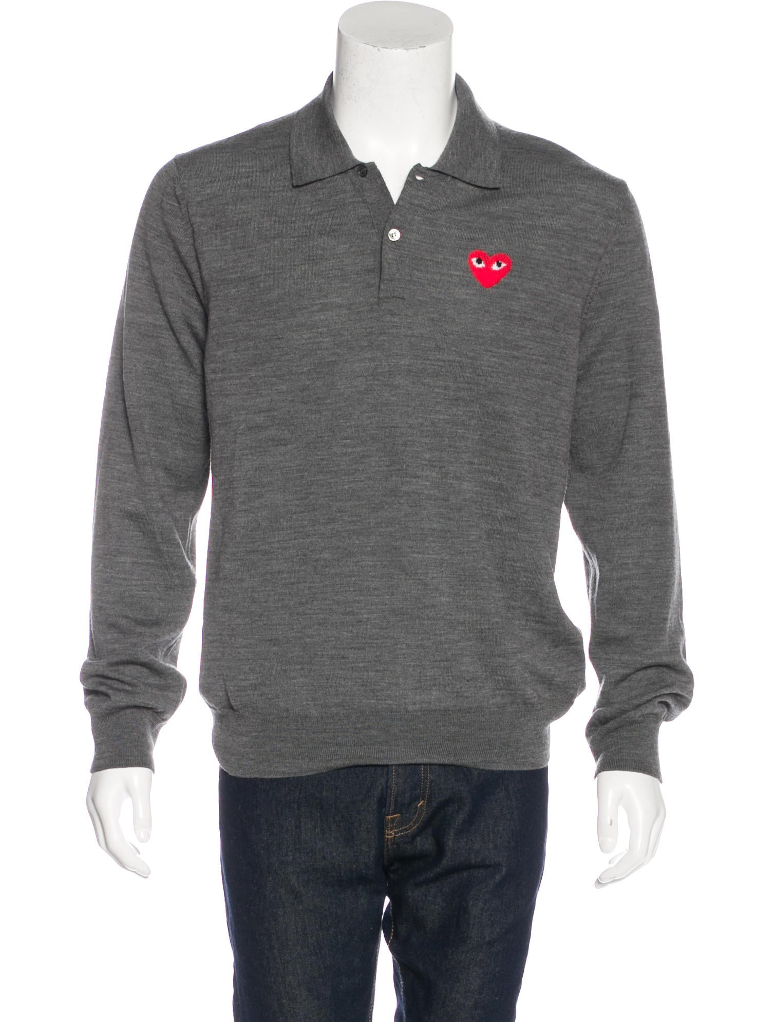 f779349e3 Comme des Garçons Play Wool Intarsia Polo Sweater w  Tags - Clothing ...