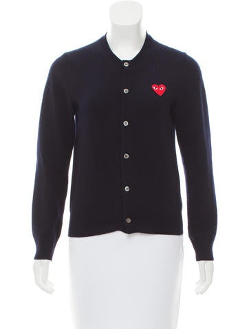 Comme des Garçons Play Wool Long Sleeve Cardigan None