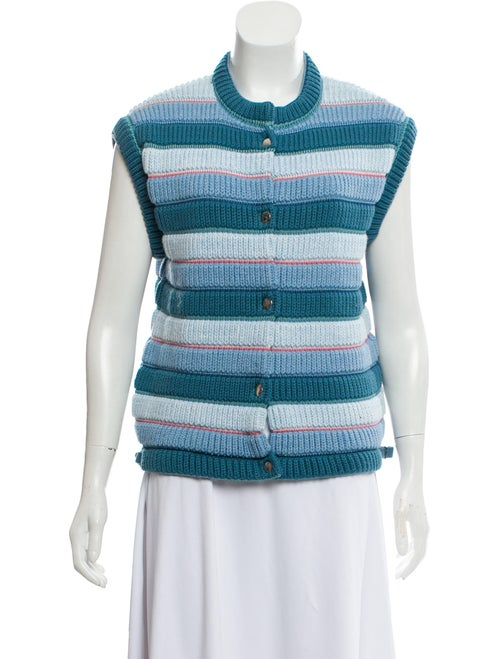Courrèges Sleeveless Striped Cardigan blue