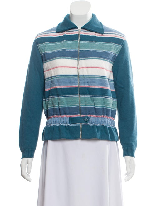 Courrèges Striped Collar Sweater Blue