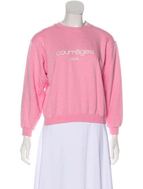 Courrèges Graphic Print Crew Neck Sweatshirt Pink