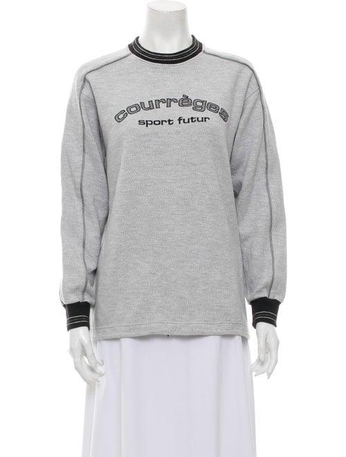 Courrèges Graphic Print Mock Neck Sweatshirt Grey