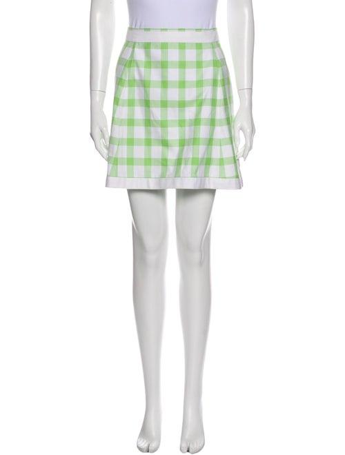 Courrèges Plaid Print Mini Skirt Green