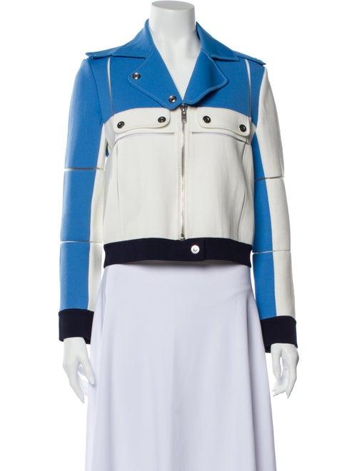 Courrèges Colorblock Pattern Biker Jacket Blue