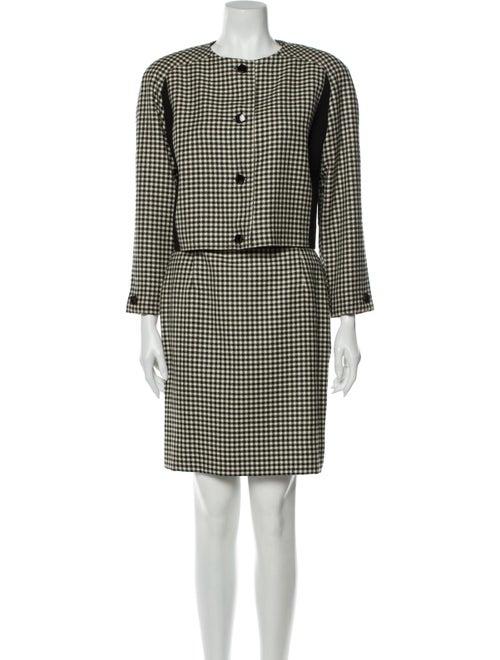 Courrèges Plaid Print Skirt Suit