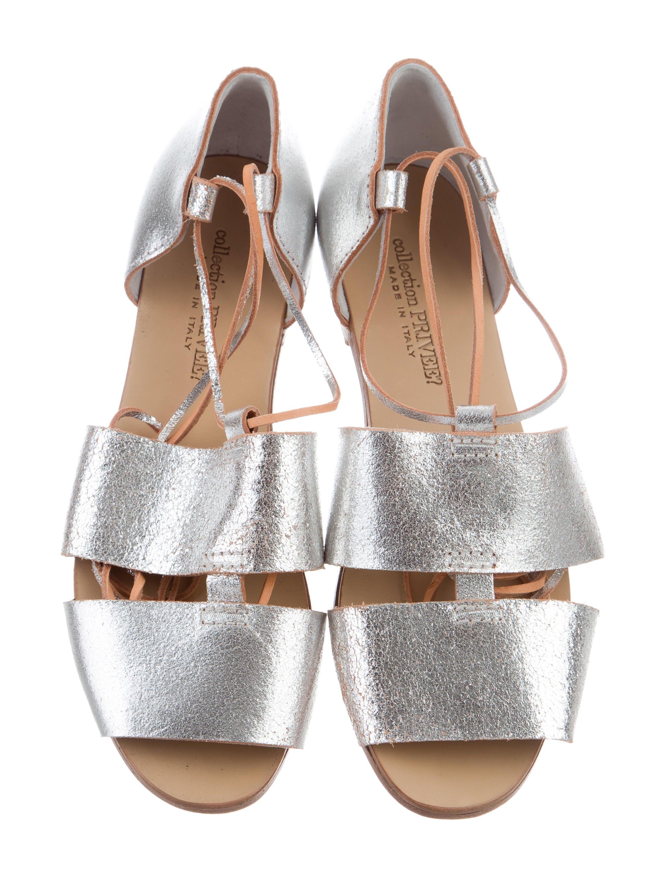 Collection Privée? Metallic Multistrap Sandals cheap sale best place 96SNpWlz