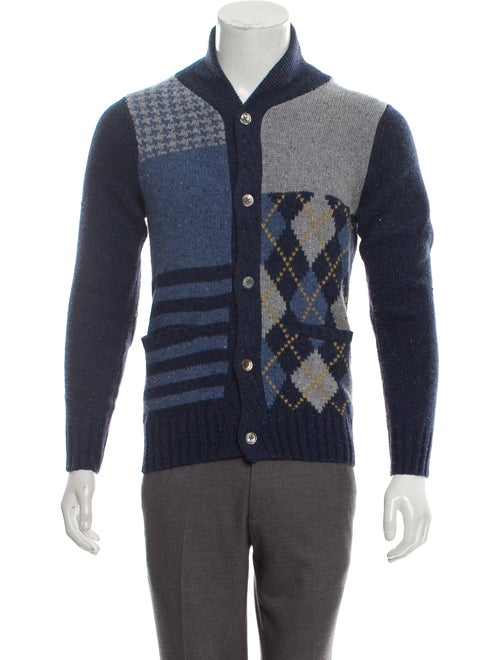 Cremieux Wool Shawl Collar Patchwork Cardigan blue