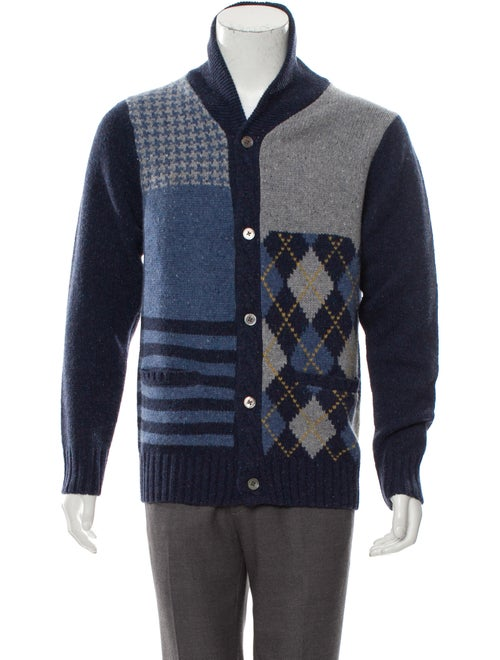 Cremieux Wool Shawl Collar Patchwork Cardigan w/ T