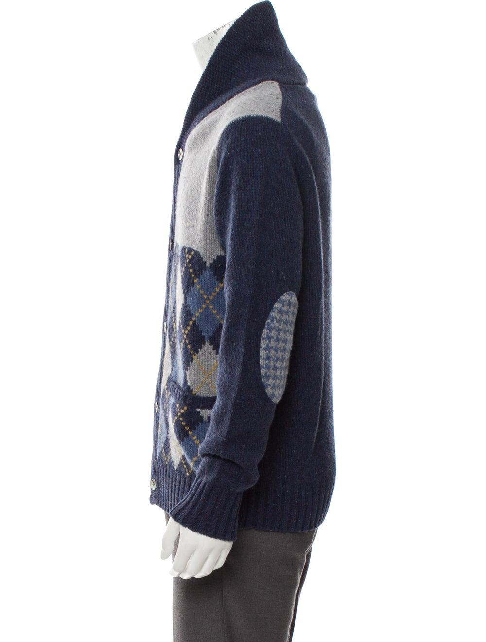 Cremieux Wool Shawl Collar Patchwork Cardigan w/ … - image 2