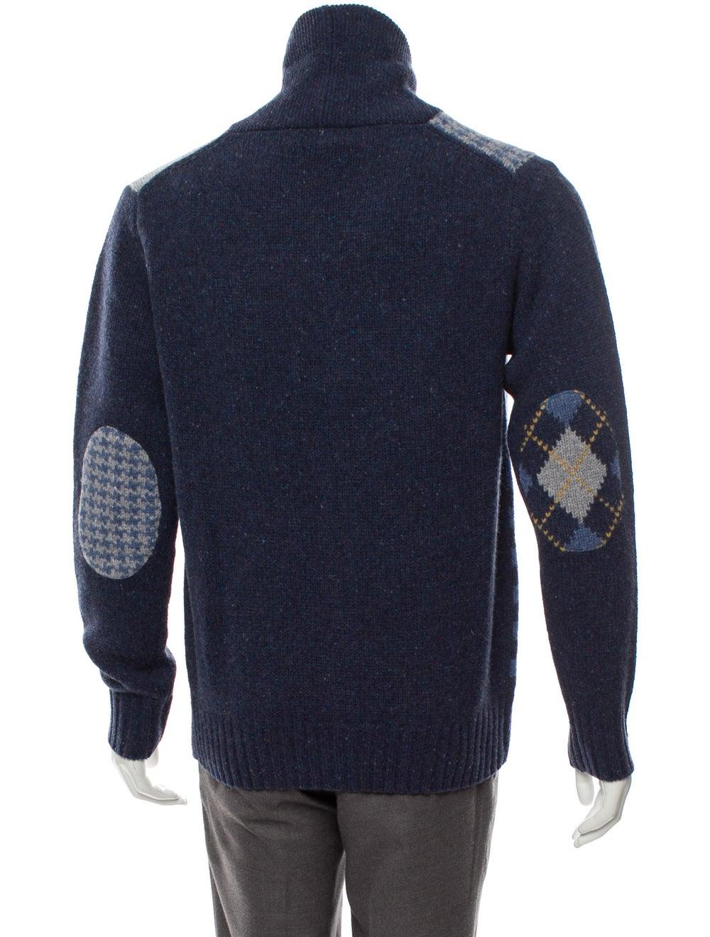 Cremieux Wool Shawl Collar Patchwork Cardigan w/ … - image 3